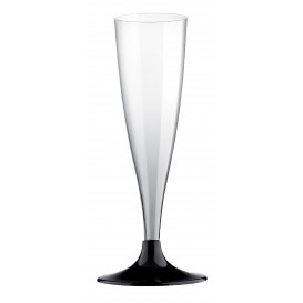 Copa de Plastico Cava con Pie Negro 140ml (400 Uds)