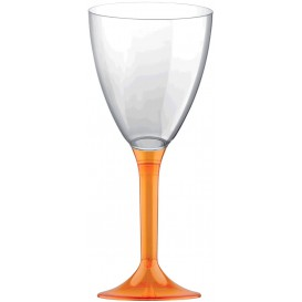 Copa Plastico Vino Pie Naranja Transp. 180ml 2P (200 Uds)