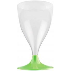 Copa de Plastico Vino con Pie Verde Lima 200ml (20 Uds)