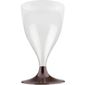 Copa de Plastico Vino con Pie Marron 200ml (200 Uds)