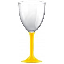 Copa de Plastico Vino con Pie Amarillo 300ml (20 Uds)