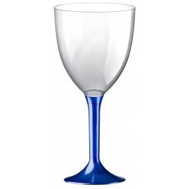 Copa Plastico Vino Pie Azul Perlado 300ml 2P (200 Uds)