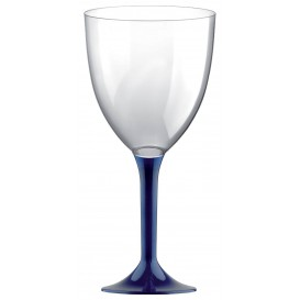 Copa de Plastico Vino con Pie Azul 300ml (20 Uds)
