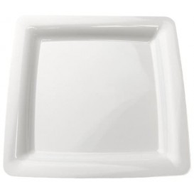 Plato Plastico Cuadrado Extra Rigido Blanco 18x18cm (20 Uds)