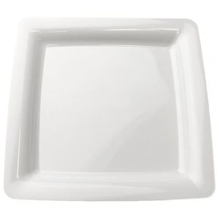 Plato Plastico Cuadrado Extra Rigido Blanco 18 x 18 cm (20 Uds)