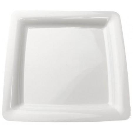 Plato Plastico Cuadrado Extra Rigido Blanco 22,5x22,5cm (200Uds)