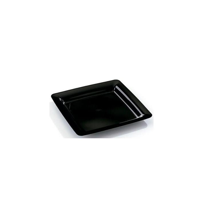 Plato Plastico Cuadrado Extra Rigido Negro 22,5x22,5cm (200 Uds)