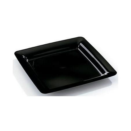 Plato Plastico Cuadrado Extra Rigido Negro 22,5x22,5cm (20 Uds)
