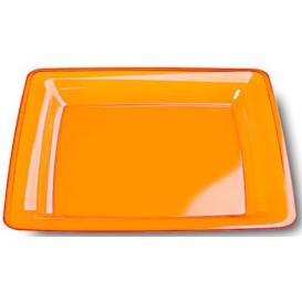 Plato Plastico Cuadrado Extra Rigido Naranja 18x18cm (108 Uds)