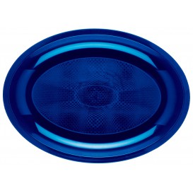 Bandeja Ovalada Azul Round PP 315x220mm (25 Uds)