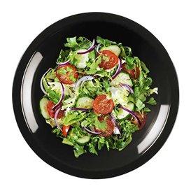 Plato de Plastico Hondo Negro Round PP Ø195mm (50 Uds)