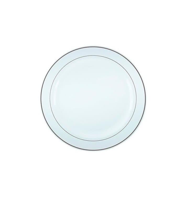 Plato Plastico Extra Rigido con Ribete Plata 15cm (20 Uds)