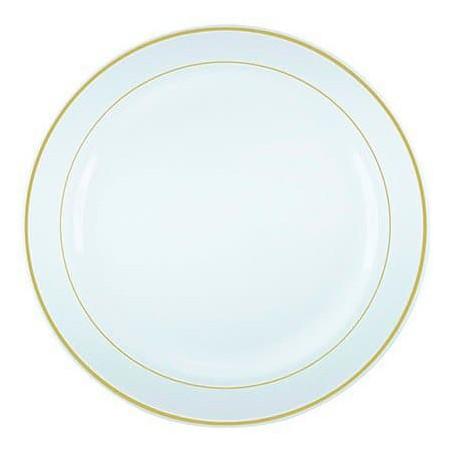 Plato de Plastico extrarigido con Ribete Oro 23 cm (20 Uds)