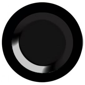 Plato Plastico Hondo Extra Rigido Negro 23cm (20 Uds)