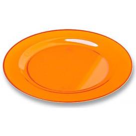 Plato Plastico Redondo Extra Rigido Naranja 23cm (90 Uds)
