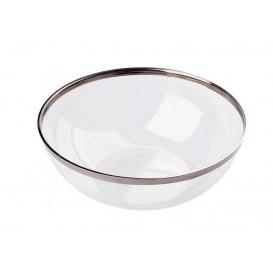 Bol de Plástico PS Cristal Ribete Plata 400ml (8 Uds)