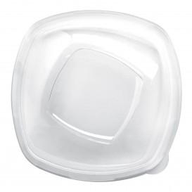 """Tapa de Plástico PET Cristal """"Square"""" Ø21cm (3 Uds)"""
