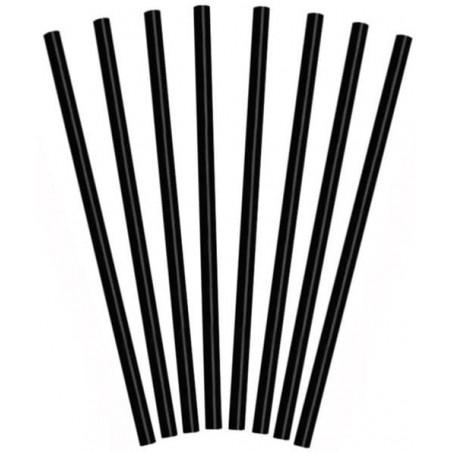 Pajita Recta Negra para Granizado Ø8mm 25cm (1000 Uds)