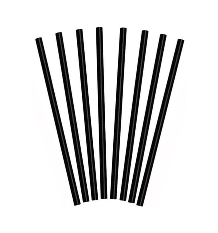 Pajita Recta Negra para Granizado Ø8mm 25cm (10000 Uds)