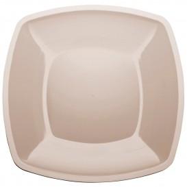 Plato de Plastico Llano Beige Square PS 300mm (12 Uds)