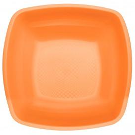 Plato de Plastico Hondo Naranja Square PP 180mm (300 Uds)