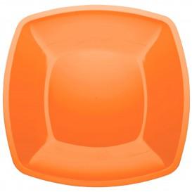 Plato de Plastico Llano Naranja Square PS 300mm (12 Uds)