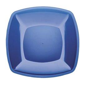 Plato de Plastico Llano Azul Transp. Square PS 300mm (12 Uds)