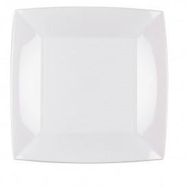 Plato de Plastico Llano Cuadrado Blanco 230mm (150 Uds)