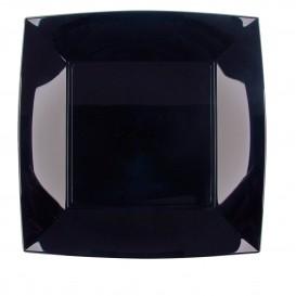 Plato de Plastico Llano Cuadrado Negro 230mm (150 Uds)