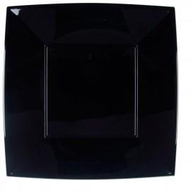 Plato de Plastico Llano Cuadrado Plata 290mm (12 Uds)