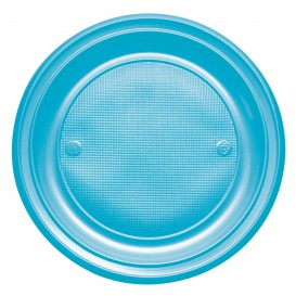 Plato de Plastico PS Llano Turquesa Ø220mm (30 Uds)