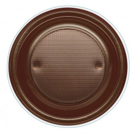 Plato de Plastico PS Hondo Chocolate Ø220mm (30 Uds)