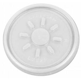 Tapa de Plastico PS Trans. Plana para Foam Ø7,4cm (100 Uds)