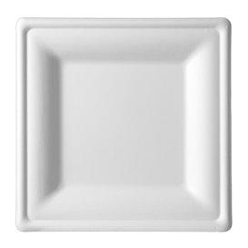 Plato Cuadrado Caña de Azucar Blanco 150x150mm (50 Uds)