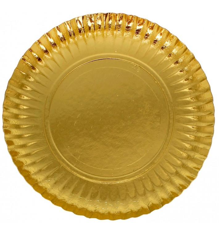 Plato de Carton Redondo Oro 230mm (300 Uds)
