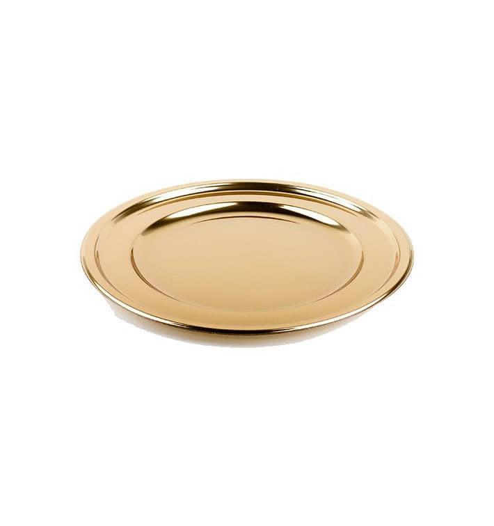 Bajoplato de Plastico Redondo Oro 30 cm (5 Uds)