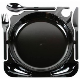 Plato y Cubiertos Caterplate Negro (48 Uds)