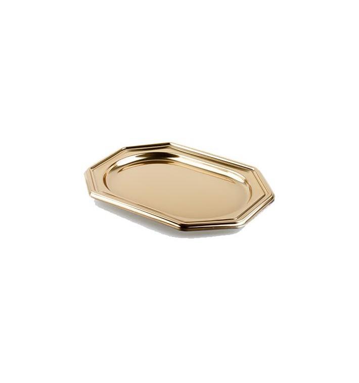 Bandeja de Plastico Octogonal Oro 27x19 cm (5 Uds)