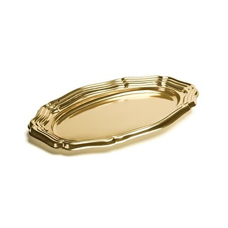 Bandeja Plastico Ovalada Oro 46x30 cm (5 Uds)