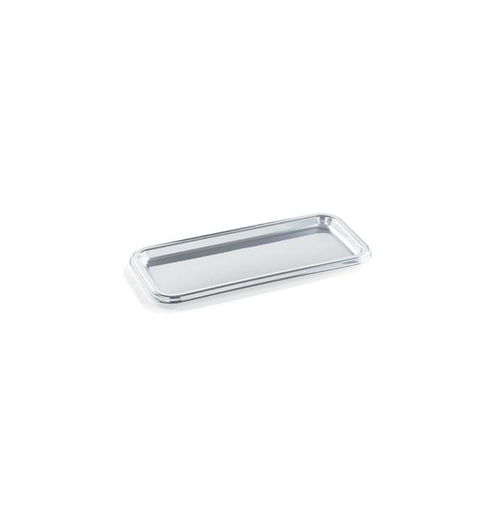 Bandeja Plastico Rectangular Plata 35X16 cm (5 Uds)