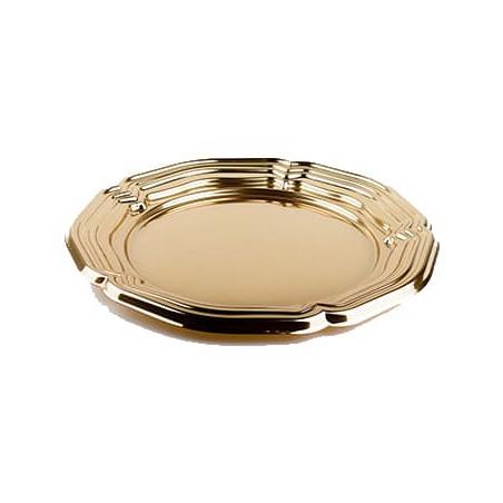 Bandeja Plastico Catering Redonda Oro 34 cm (5 Uds)