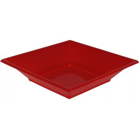 Plato de Plastico Hondo Cuadrado Rojo 170mm (25 Uds)