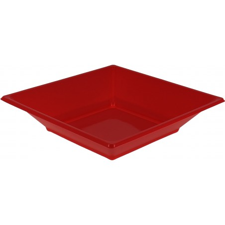 Plato de Plastico Hondo Cuadrado Rojo 170mm (750 Uds)
