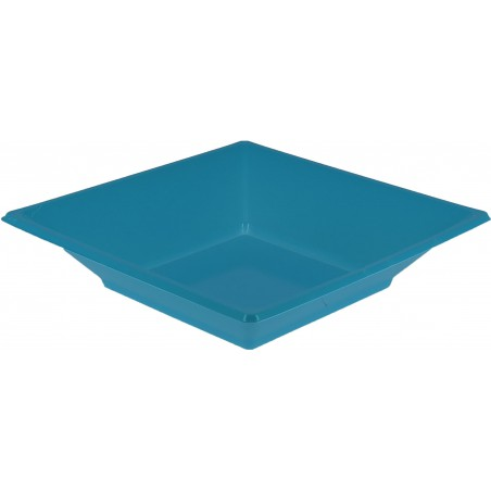 Plato de Plastico Hondo Cuadrado Turquesa 170mm (25 Uds)