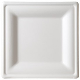 Plato Cuadrado Caña de Azucar Blanco 200x200mm (25 Uds)