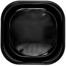Plato de Plastico Cuadrado Negro PS 200x200mm (30 Uds)