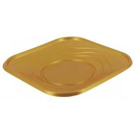 """Plato de Plastico """"X-Table"""" Cuadrado Oro PP 230mm (8 Uds)"""