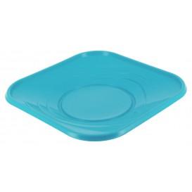 "Plato de Plastico PP ""X-Table"" Cuadrado Turquesa 230mm (8 Uds)"