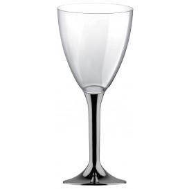 Copa de Plastico Vino con Pie Niquel Cromado 180ml (200 Uds)