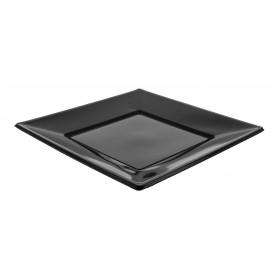 Plato de Plastico Llano Cuadrado Negro 230mm (750 Uds)